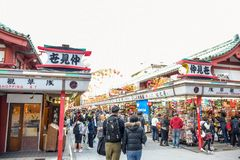 People shopping in Nakamise market, the traditional shopping street located at Sensoji Temple, Asakusa, Japan. People are shopping in Nakamise Shopping Street royalty free stock photography