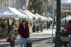 People shopping at Portland farmers market Royalty Free Stock Images