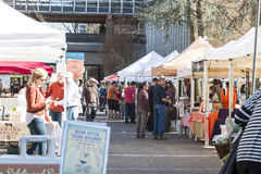 People shopping at Portland farmers market Royalty Free Stock Image