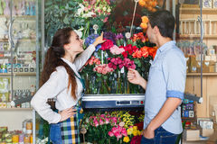 People, shopping, sale, floristry and consumerism concept. Shopping, sale, floristry and consumerism concept worker Royalty Free Stock Image