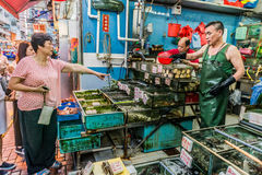 People shopping seafood market Causeway Bay Hong Kong Royalty Free Stock Images