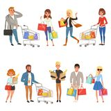 People shopping set. Flat cartoon characters in supermarket with shopping carts and paper bags with food. Vector. People shopping set. Young women and men stock illustration