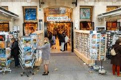 People shopping at a souvenir shop of Paris Royalty Free Stock Photos
