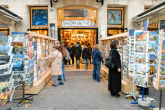 People shopping at a souvenir shop of Paris Stock Photo