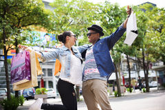 People Shopping Spending Customer Consumerism Concept. Diverse people shopping cheerful outdoor Stock Photos