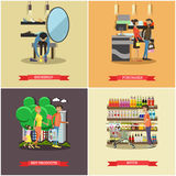 People shopping in a store concept posters. Colorful vector illustration. Stock Photos
