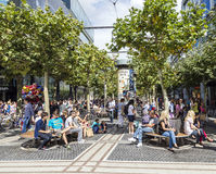 People on the shopping street Zeil in Frankfurt am Main Royalty Free Stock Image