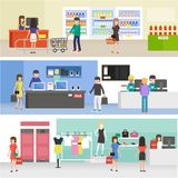 People shopping in supermarket, buying product in clothing, electronics and grocery store. Vector illustration Stock Photos