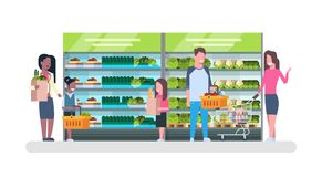 People Shopping At Supermarket And Buying Products, Shelves At Grocery Consumerism Concept. Flat Vector Illustration Royalty Free Stock Photo