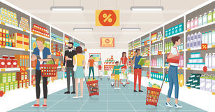 People shopping at the supermarket. They are choosing products on the shelves and pushing carts or shopping baskets stock illustration