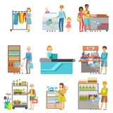 People Shopping In Supermarket Set Of Illustrations Stock Photography