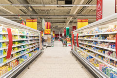 People Shopping In Supermarket Store Aisle stock photos