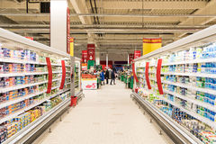 People Shopping In Supermarket Store Aisle Stock Images