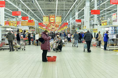 People Shopping In Supermarket Store Stock Photo