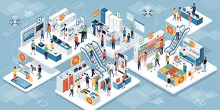 People shopping together at the supermarket and augmented reality. Happy people shopping together at the supermarket and buying products: augmented reality and vector illustration
