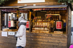 People shopping at the traditional Christmas markets at the Masaryk Square Masarykovo Namesti in Brno, Czech republic Royalty Free Stock Photo