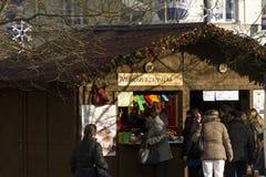 People shopping at the traditional Christmas markets at Masaryk square, Ostrava Royalty Free Stock Photos
