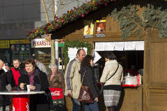 People shopping at the traditional Christmas markets at Masaryk square, Ostrava Royalty Free Stock Images