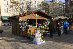 People shopping at the traditional Christmas markets at Masaryk square, Ostrava Royalty Free Stock Photography
