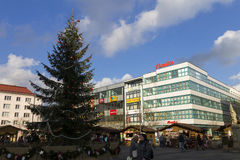 People shopping at the traditional Christmas markets at Masaryk square, Ostrava Stock Images