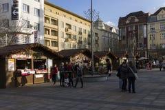 People shopping at the traditional Christmas markets at Masaryk square, Ostrava Stock Image