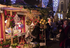 People shopping at the traditional Christmas markets at the Peace Square Namesti Miru in Prague, Czech republic Stock Photo
