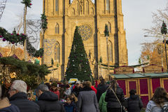 People shopping at the traditional Christmas markets at the Peace Square Namesti Miru in Prague, Czech republic Royalty Free Stock Images