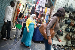 People shopping in Tunis Royalty Free Stock Photography