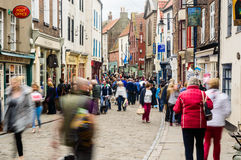 People shopping Whitby Church Street Royalty Free Stock Photography