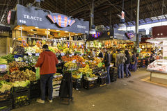 People and shops in Sant Josep de la Boqueria Market in Barcelona Stock Photo