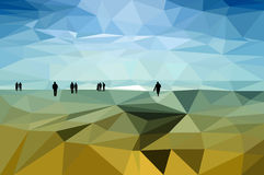 People on the Shore. Black silhouettes of walking people on the low poly styled landscape of the lake's shore Royalty Free Stock Photo