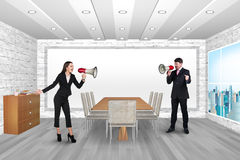People shouting in megaphones Royalty Free Stock Photography