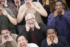 People Shouting Together. High angle view of people shouting together Royalty Free Stock Photography