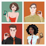 People show mobile phones Royalty Free Stock Image