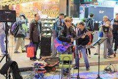 People show on Mongkok street Royalty Free Stock Photo