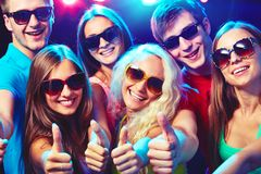 People show thumb up Stock Photo