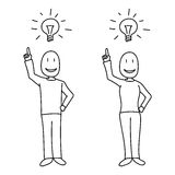 People showing bright idea concept and light bulb above heads in hand drawn style. All elements  and white filled Royalty Free Stock Photography