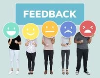 People showing customer feedback evaluation emoticons royalty free stock photo