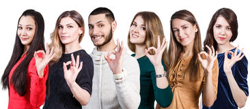 People showing OK sign Stock Image