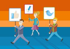 People showing posters with icons. Social network structure as concept royalty free illustration