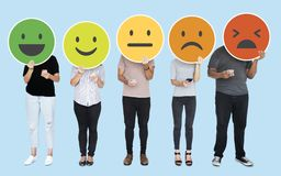 People showing various feeling expression emoticons royalty free stock photos