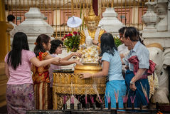 People in the Shwedagon paya, Burma. Royalty Free Stock Photography