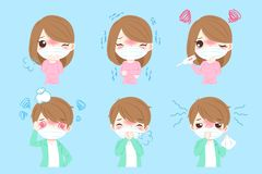 People with sick. Cartoon people with sick on the blue background vector illustration