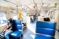 Bangkok, Thailand:People in side Thailand train. Royalty Free Stock Photography