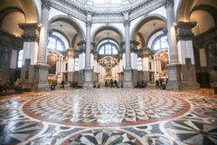 People sightseeing interior of Santa Maria della Salute in Venic Royalty Free Stock Photography