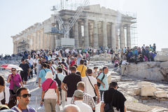 People sightseeing Parthenon temple Stock Photography