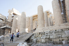 People sightseeing Temple of Athena Nike Royalty Free Stock Photography