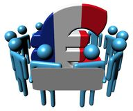 People with sign around French Euro Royalty Free Stock Photography