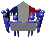 People with sign and France flag arrow Stock Photo