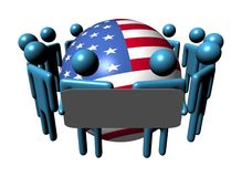 People with sign and USA flag sphere Stock Photos